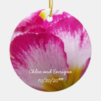 Pink Flower Personalized Wedding Ceramic Ornament