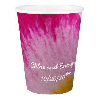 Pink Flower Personalized Wedding Paper Cup