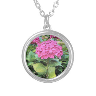 Pink Flower Photo  Silver Plated Round Necklace