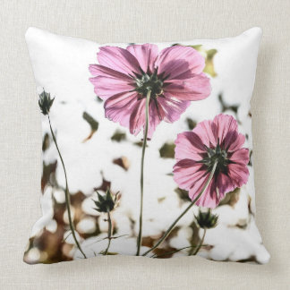 Pink Flower Photography Vintage Floral Throw Pillow