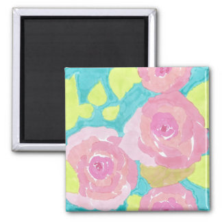 Pink Flower Power Square Magnet