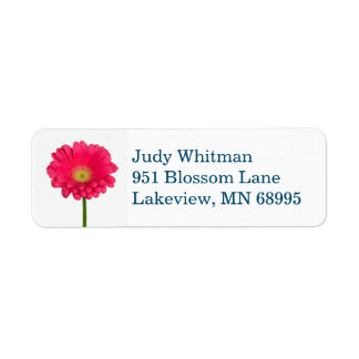 Pink Flower return address label