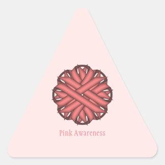 Pink Flower Ribbon Triangle Sticker