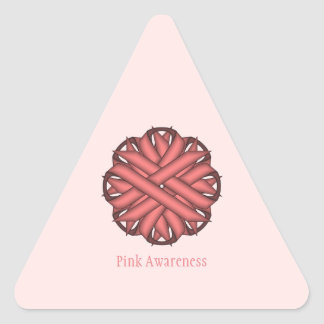 Pink Flower Ribbon Triangle Sticker