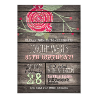 """Pink Flower, Rustic Country 85th Birthday Party 5"""" X 7"""" Invitation Card"""