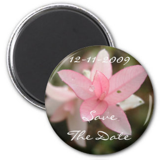 Pink Flower Save The Date 2 Inch Round Magnet