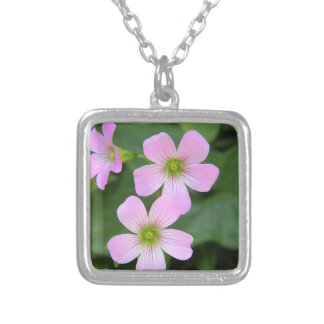 pink-flower silver plated necklace