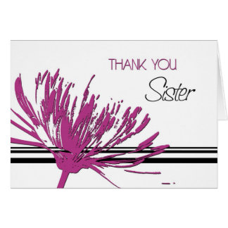 Pink Flower Sister Thank You Bridesmaid Card