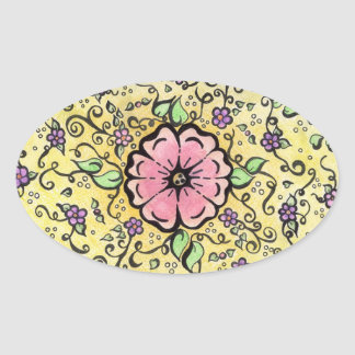 Pink Flower - Spring Oval Sticker
