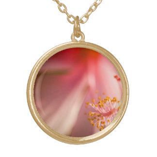 Pink Flower Stamen Macro Photography Gold Plated Necklace