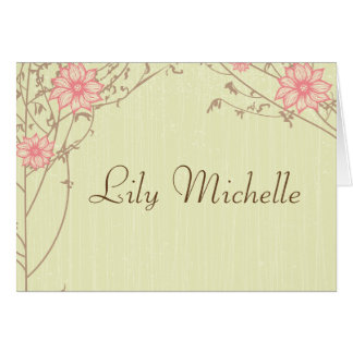 Pink Flower Thank You Card