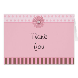 Pink Flower Thank You Note Greeting Card