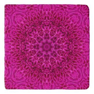 Pink Flower Vintage Kaleidoscope Stone Trivets