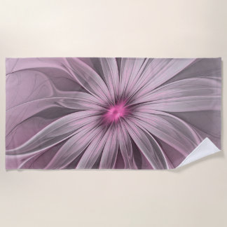 Pink Flower Waiting For A Bee Abstract Fractal Art Beach Towel