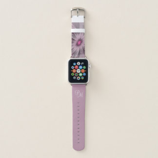 Pink Flower Waiting For A Bee Abstract Monogram Apple Watch Band