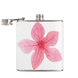 pink flower watercolor bachelorette party hip flask