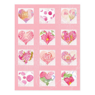 Pink Flower Watercolor Hearts Collage Roses Cat Postcard