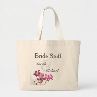 Pink Flower Wedding Gear Tote Jumbo Tote Bag