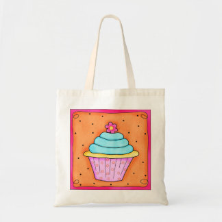 Pink Flower Whimsy Cupcake Tote Bag