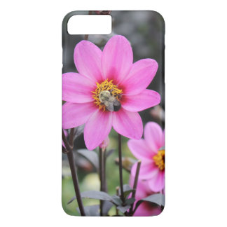 PINK FLOWER WITH BUMBLE BEE IPHONE CASE
