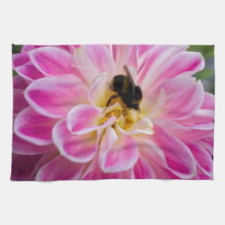 Pink flower with bumblebee kitchen towel