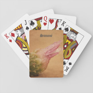 Pink flower with droplets poker deck