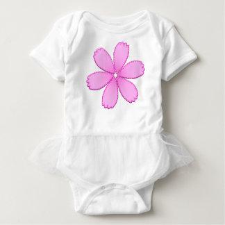 Pink Flower with Stitches Baby Bodysuit