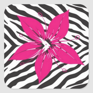 Pink Flower with Zebra Print Square Sticker
