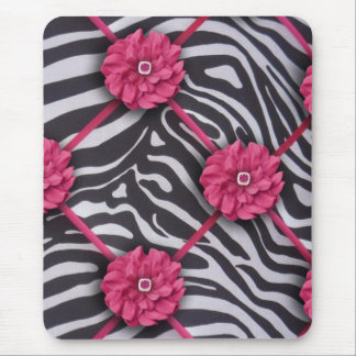 Pink Flower Zebra Mouse Pad