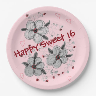 Pink Flowered Paper Party Plate 9 Inch Paper Plate
