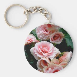 Pink Flowering Begonia Keychain