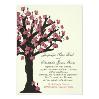 Pink Flowering Dogwood Tree Wedding Card