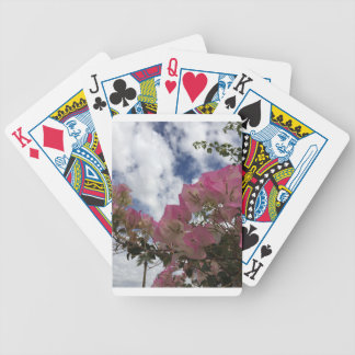 pink flowers against a blue sky bicycle playing cards