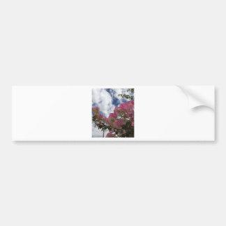pink flowers against a blue sky bumper sticker