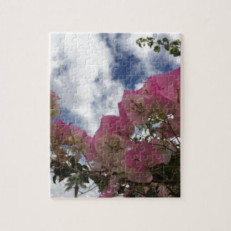 pink flowers against a blue sky jigsaw puzzle