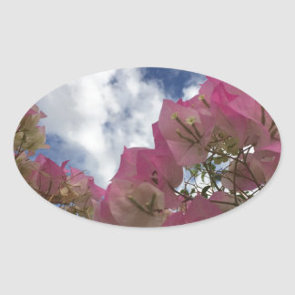 pink flowers against a blue sky oval sticker