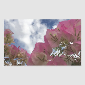pink flowers against a blue sky sticker
