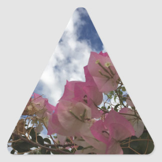 pink flowers against a blue sky triangle sticker