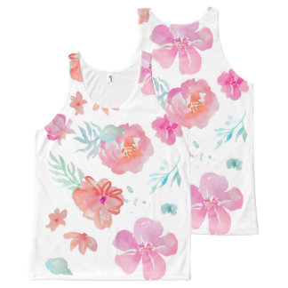 Pink Flowers All-Over Printed Unisex Tank