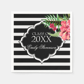 Pink Flowers And Black Stripes- Graduations Disposable Napkin