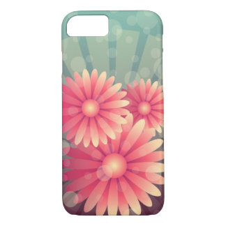 Pink Flowers and Blue Circles iPhone 7 Case