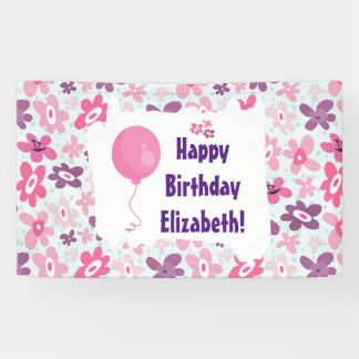Pink Flowers and Blue Hearts Cute Birthday Banner