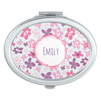 Pink Flowers and Blue Hearts Cute Whimsical Compact Mirror