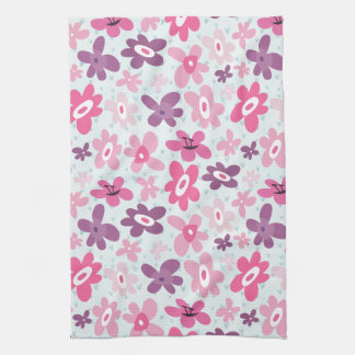 Pink Flowers and Blue Hearts Cute Whimsical Kitchen Towel