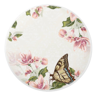 Pink Flowers and Butterfly Ceramic Knob