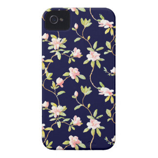 Pink Flowers and Dark Blue iPhone 4 Case-Mate Cases
