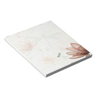 Pink flowers and dragonfly notepad