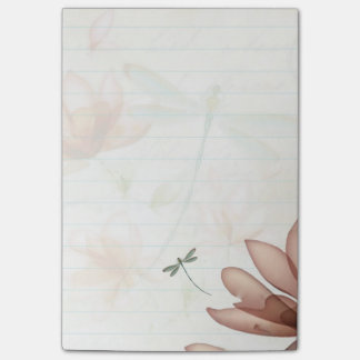 Pink flowers and dragonfly post-it notes