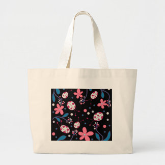 Pink flowers and ladybugs large tote bag