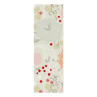 Pink flowers and little birds wallpaper business cards